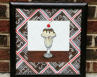 """Prismacolor Pencil Drawing Print """"Chocolate Lover's Dream"""" hershey's chocolate sundae drawing"""