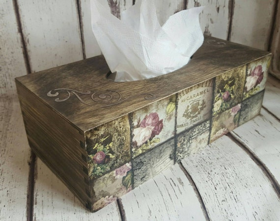Tissue cover box, wooden tissue box, romantic  roses Vintage Style Tissue Box, dark oak, decoupaged, house, bedroom, boudoir decor.
