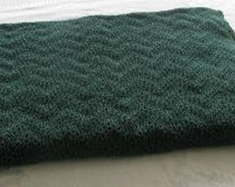 Afghan, Knitted Hunter Green Afghan, Knitted Burgundy Blanket, Tuck Stitch Knitted Blanket, Knitted Throws, Back to School Dorm Blanket