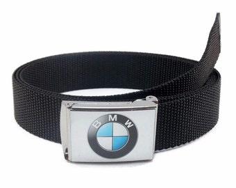 Custom Made BMW Logo Canvas Web Belt & Buckle