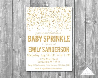 Gold Baby Sprinkle Invitation, Baby Shower Invitation,  Printable Invitation, Gold Glitter Baby Sprinkle, Gold Invitation Second Baby Shower