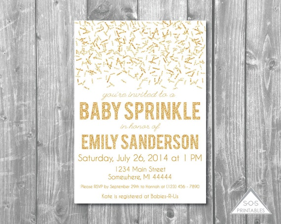gold glitter baby sprinkle gold invitation second baby shower