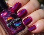 Polish of Unusual Quality (POUQ) - magenta linear holo - nail polish by Indigo Bananas