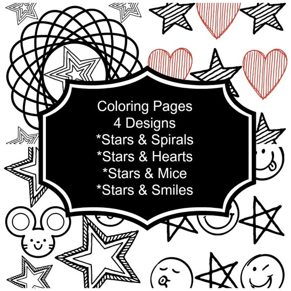 instant download coloring pages printable for kids activity for kids stars spirals stars hearts stars mice stars smiles from craftingaddie on