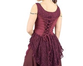 ON SALE Lace dovetail top with corset in front and at back, burgundy, steampunk, victorian, cabaret, theatre, festival, Burning man, bulesqu