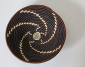Handwoven Basket / Small / Geometric Pattern / Black and White / Shallow / African