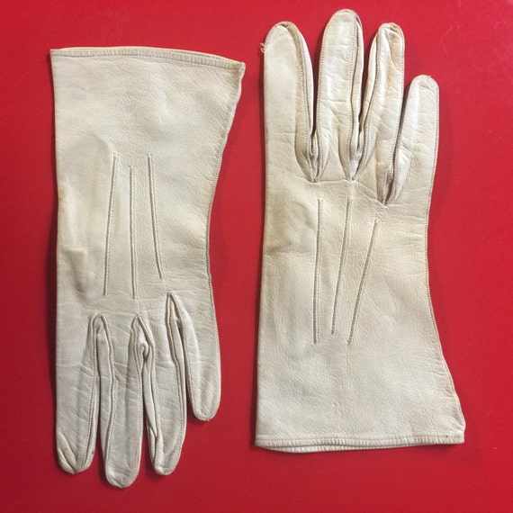 1940s gloves cream leather top stitching handmade 1930s original accesories size 7 6.5