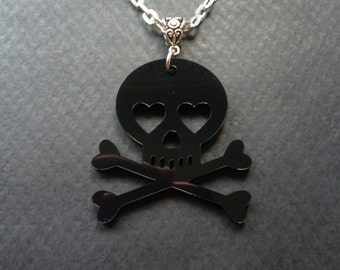 Skull and Crossbones necklace ~ Rocker jewelry ~ Rock n Roll necklace ~ Skull jewelry ~ Black Acrylic skull necklace