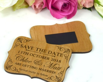 50 x  Engraved Wooden Wedding mini 'Save the Date' with Magnet
