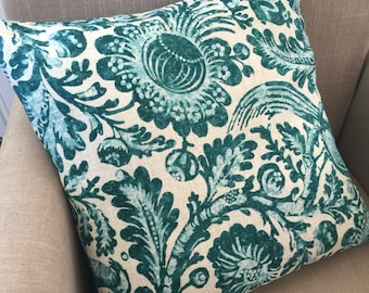 Large Cushion Cover/Pillow in Waverly Tucker Resist Teal  to fit a 50cm or 20 inch Square Insert.