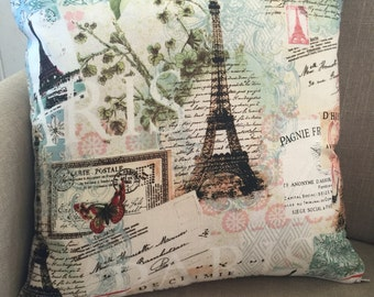 Large Cushion Cover/Pillow in A Paris Themed Fabric designed by Lula Bijoux. Cover to fit a 50cm or 20 inch insert.