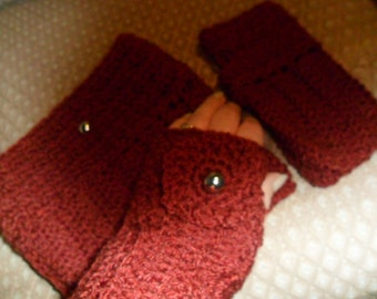 Boot Cuffs/Toppers and matching Wrist Warmers.  Crochet.  Cherry Red., washable.