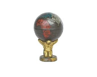 Antique World Globe - Atlas Holding the Globe - Vintage Globe Pencil Sharpener - Vintage World Globe Decor - Miniature Globe - Earth Globe