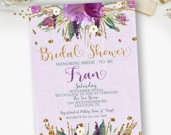 PRINTABLE- Bridal Shower, Boho, Chic, Floral, Watercolor, Purple, Gold, Bridal Shower Invitations  - YOU PRINT