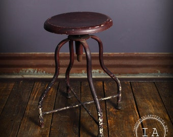 Vintage Industrial Adjustable Steel Machinists Drafting Stool