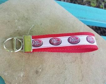 Wristlet keychain, key fob wristlet, wrist keychain, wristlet, dr. Pepper wristlet, dr. Pepper