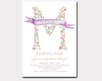 Floral Letter Invitation for Birthdays, Bridal or Baby Showers