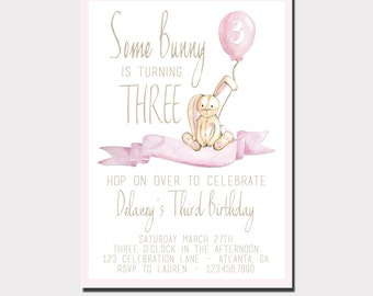 Bunny Birthday Invitation | Some Bunny Is One | Some Bunny Birthday Invitation | Balloon Bunny Baby Shower