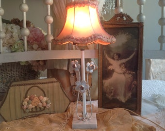 Vintage shabby cottage pink and white tole metal flower and marble lamp