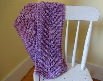 CLEARANCE - Purple Feather and Fan Scarf, Hand Knit Women's Scarf, Fashion Scarf, Gift for Mom, Gift for Teacher, Spring Scarf, Light Scarf