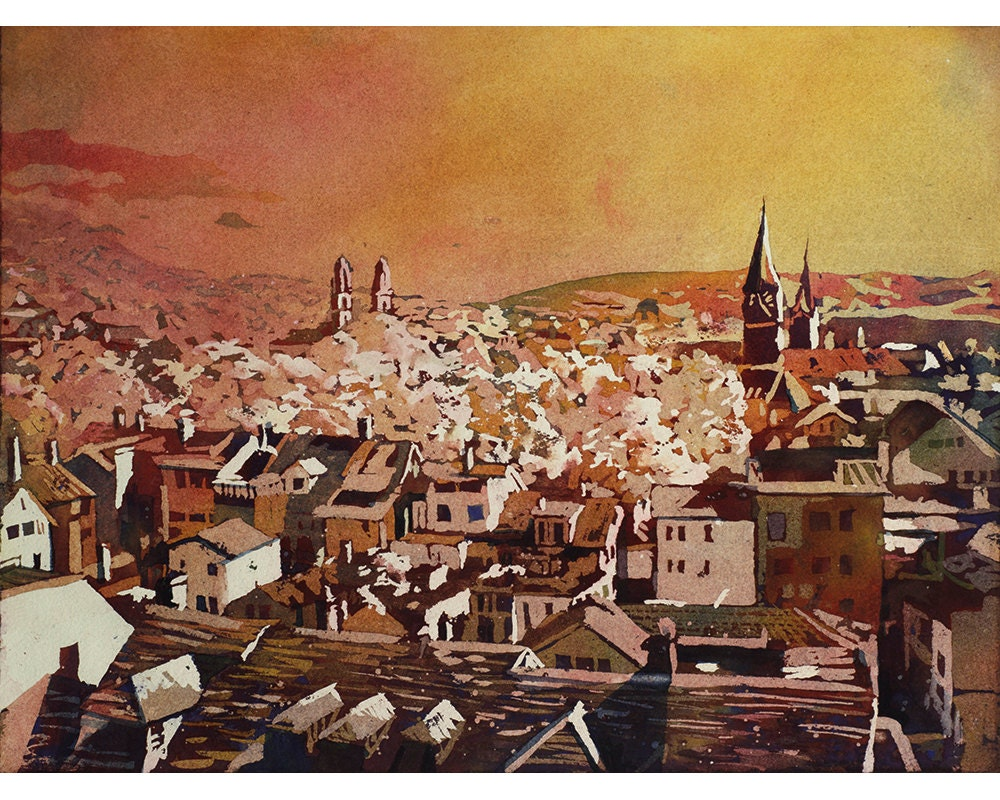 Painting of aerial view of churches buildings of historic for Home decor zurich