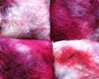 Handdyed Silk Hankies for Hand Spinning or wet felting in reds and burgundy