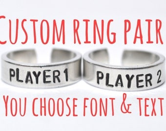 Custom Adjustable  Aluminum Metal Stamped Ring PAIR .