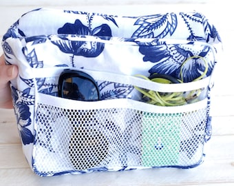 Cooler Purse Organizer, Blue/White Floral