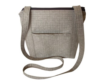 Zippered Cross body Bag/ Messenger Bag/ iPad Bag/ Beige and light Brown. (Free Shipping)