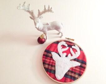 christmas plaid deer hoop