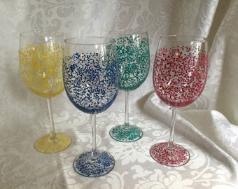 Bridal Lace Wedding Party  Hand Painted Wine Glasses