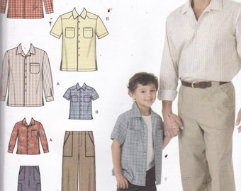 Simplicity 4760 Vintage Pattern Father and Son Matching Shirts and Pants Size Childs Sm, MEd, Lg, Adults Sm, MEd, Lg, X Lg UNCUT