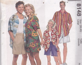 McCalls 8148 Vintage Pattern Mens Button Up Shirt and Shorts Size Large (38-40) UNCUT