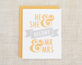 Wedding Card, Engagement Card, Mr and Mrs, Screen Print, Hand Printed Card, Love Card, He and She, I Do, Gold, Silver, Congratulations Card