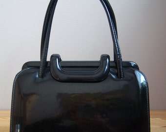 Birks Leather lined Black Patent Purse/Handbag from 1960s.
