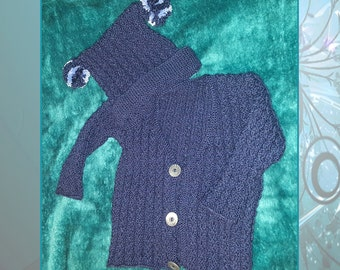 Hand Knitted Jacket & Pom Pom Hat