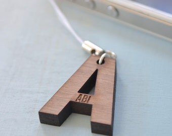 Personalised Initial Walnut Mobile Phone Charm
