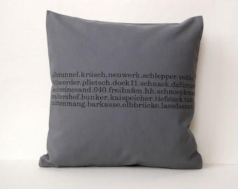 Typo pillow Hamburg printed 40 x40  zipper gray
