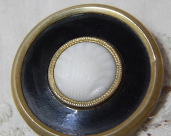 White Shell Shaped Glass Center Antique Button with Black Celluloid and Fabric Pad Back