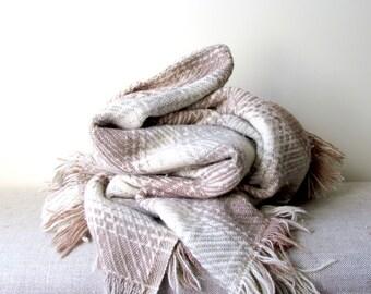 Vintage Pendleton Wool Throw Blanket in Neutral Colors
