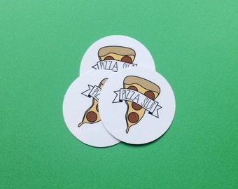 Pizza Slut vinyl circular stickers (set of 3)