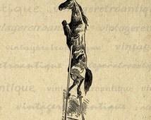 Horse on Stilts Digital Image Download Illustrated Graphic Printable Antique Clip Art Jpg Png Eps 18x18 HQ 300dpi No.3357