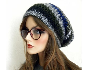 Slouchy Beanie, Soft Slouch Beanie,  Women's Slouch Hat, Winter Hat, Fall Fashion Trend, Green, Gray, Striped Hat, Soft, Wool Blend, Alpacha