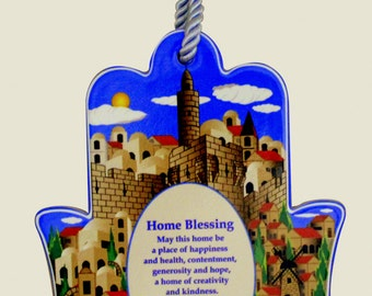 Judaica Kabbalah Home Blessing Hamsa English Ceramic Wall Hang Jerusalem View