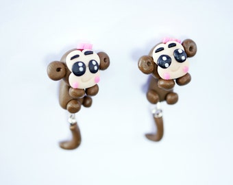 Cute monkey earring stud