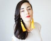 Dangle Earrings Drop Earrings Yellow Tassel Earrings Statement Earrings Unique Gifts For Her Tassel Jewelry Geometric Earrings / CHATIO