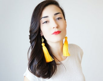 Dangle Earrings Drop Earrings Yellow Tassel Earrings Statement Earrings Gifts For Her Tassel Jewelry Geometric Earrings Gift/ CHATIO
