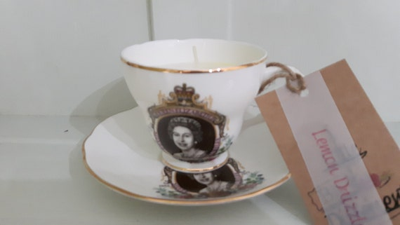 Hand poured scented soy wax vegan vintage silver jubilee 1977 tea cup candle, scented with lemon drizzle cake.
