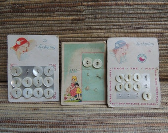 Vintage Luckyday Mother of Pearl Buttons on Original Cards 1940s