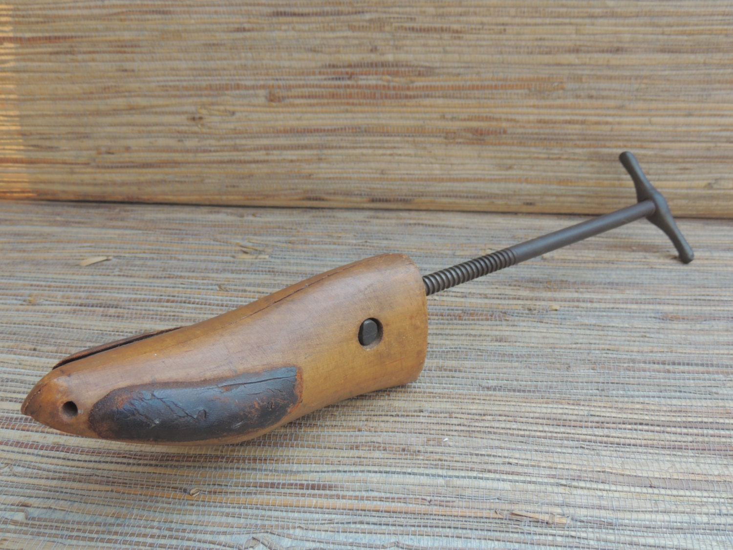 vintage standard brand wood iron and leather shoe stretcher